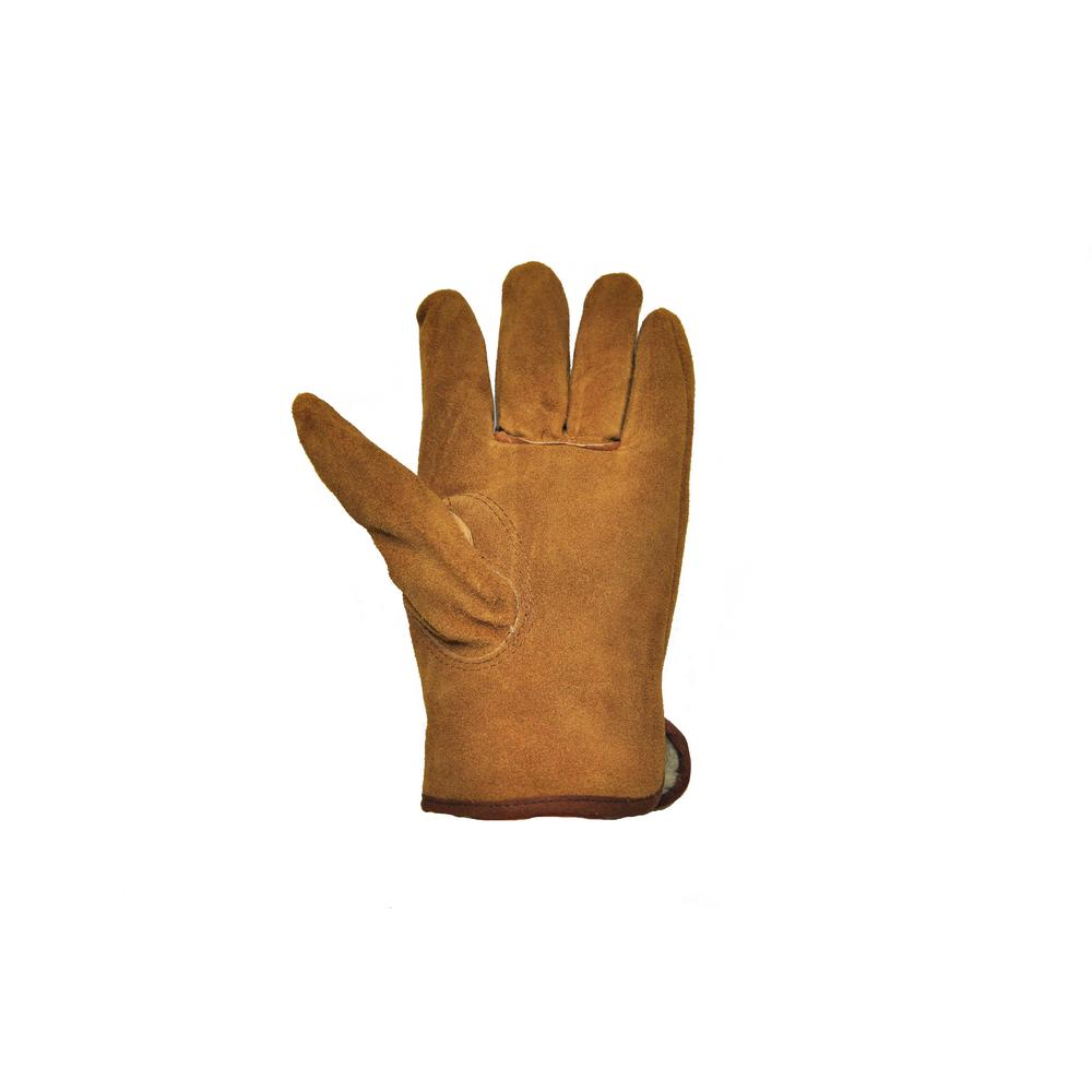 G /& F Suede Cowhide Large Leather Gloves Pile Lined Outdoor Work Safety 3 Pair