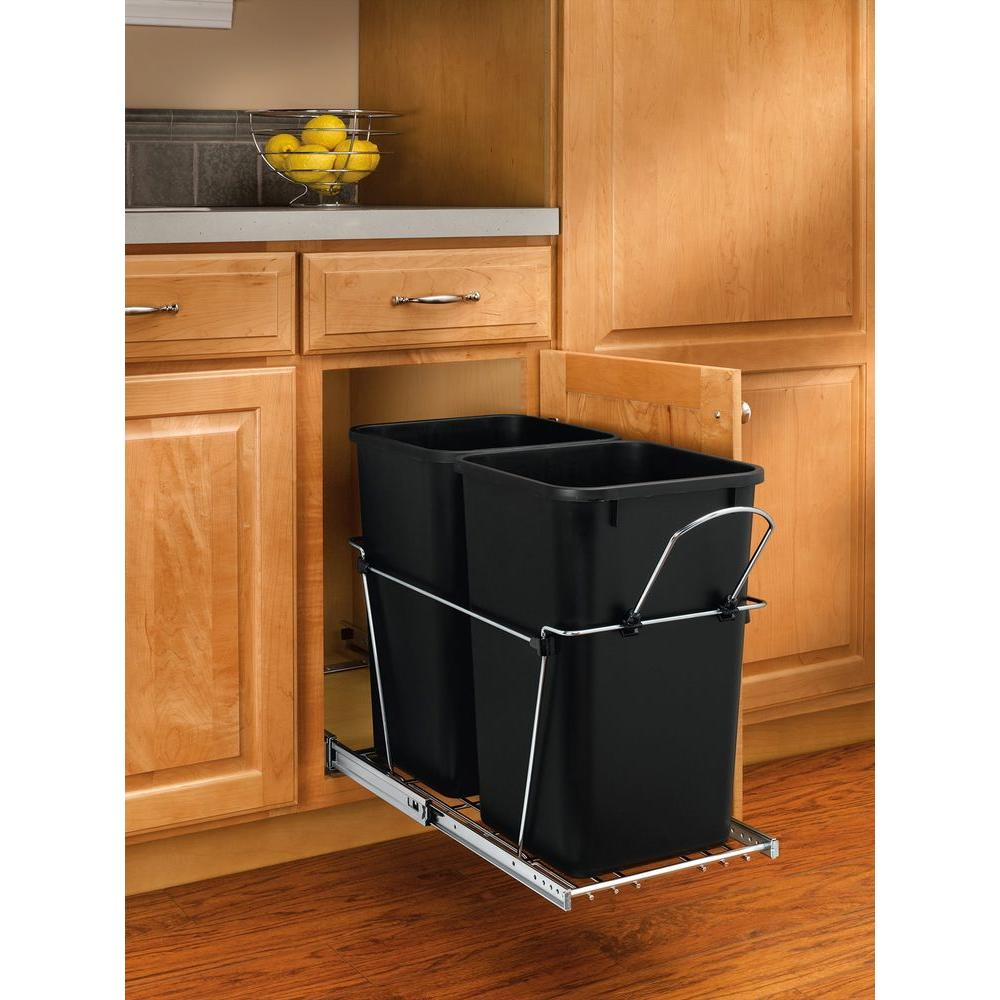 Rev-A-Shelf 19.25 in. H x 11.81 in. W x 22.25 in. D Double 27 Qt. Pull-Out Black and Chrome Waste Container