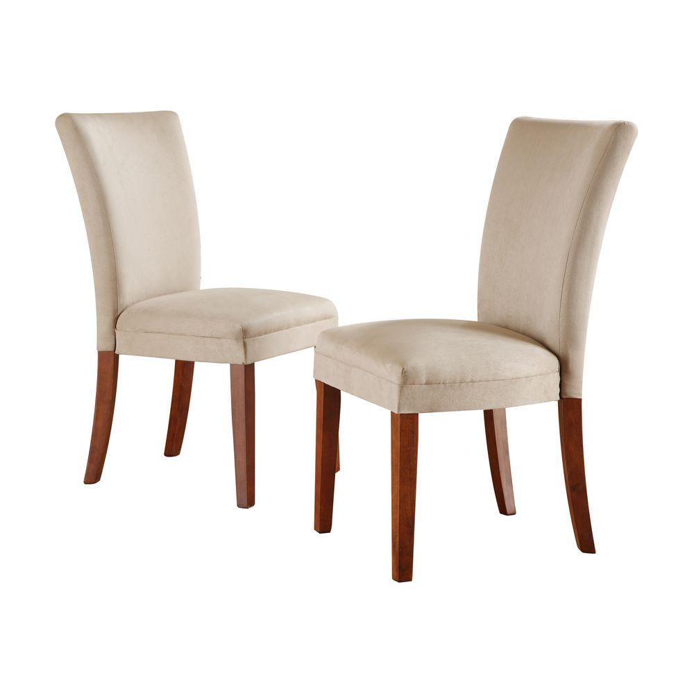 Home Decorators Collection 19 in. H Tan Microfiber Side Chair (Set of 2)-DISCONTINUED