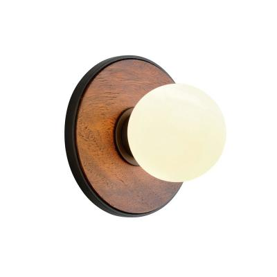 Cadet Black and Natural Acacia 1-Light Wall Sconce with White Glass Shade