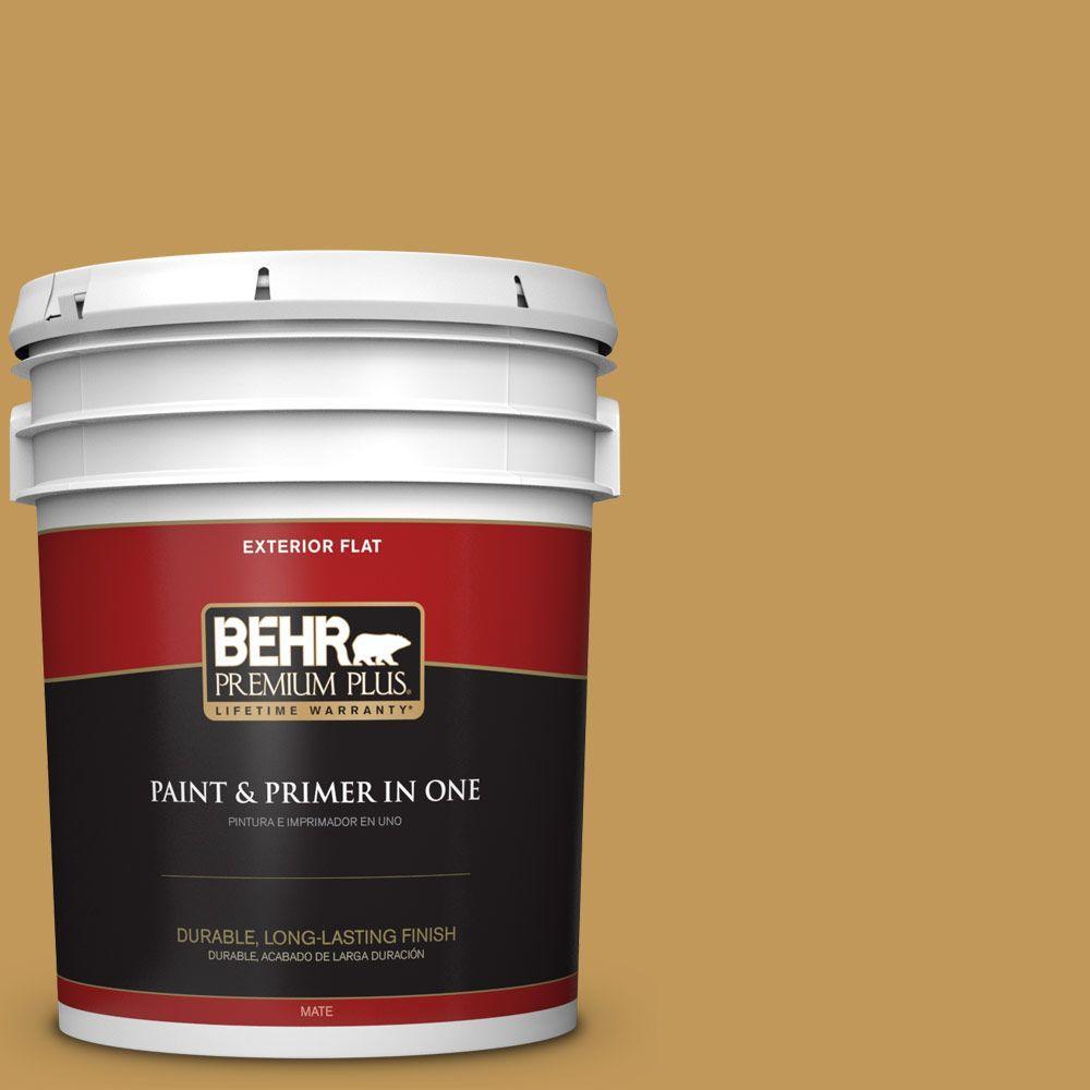 BEHR Premium Plus 5-gal. #330D-6 Townhouse Tan Flat Exterior Paint