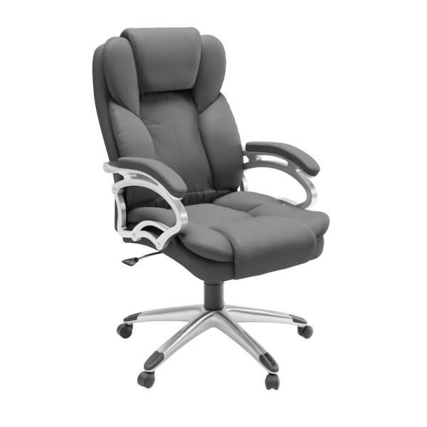 CorLiving Steel Grey Leatherette Workspace Executive Office Chair LOF-438-O