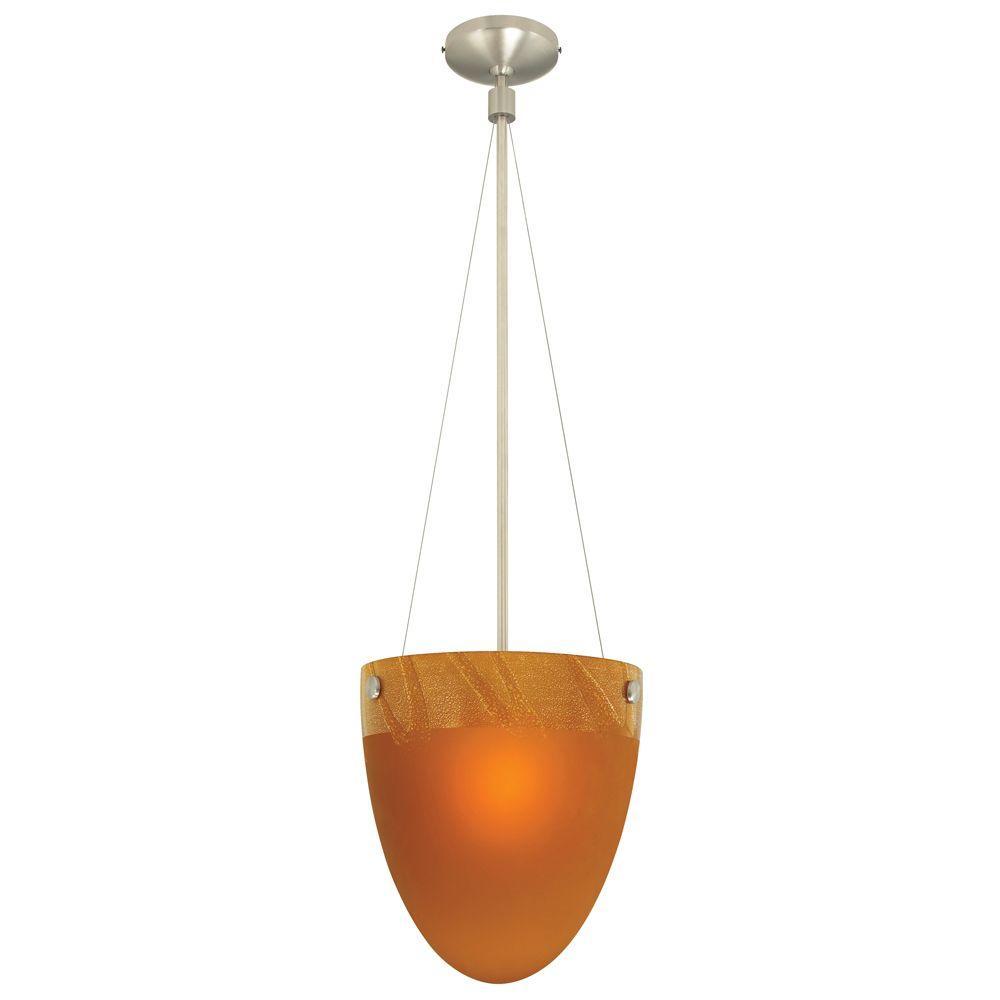 LBL Lighting Mojave 1-Light 73 in. Hanging Amber Satin Nickel Suspension-DISCONTINUED