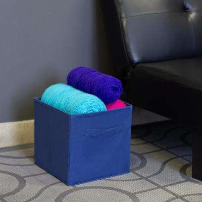 10.5 in x 10.5 in Navy Collapsible and Foldable Non-Woven Storage Cube