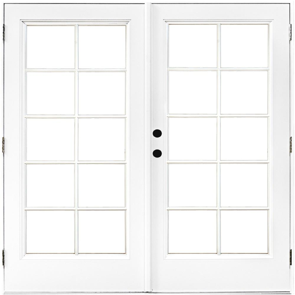 MP Doors 72 in. x 80 in. Fiberglass Smooth White Right-Hand Outswing Hinged Patio Door with 10-Lite SDL