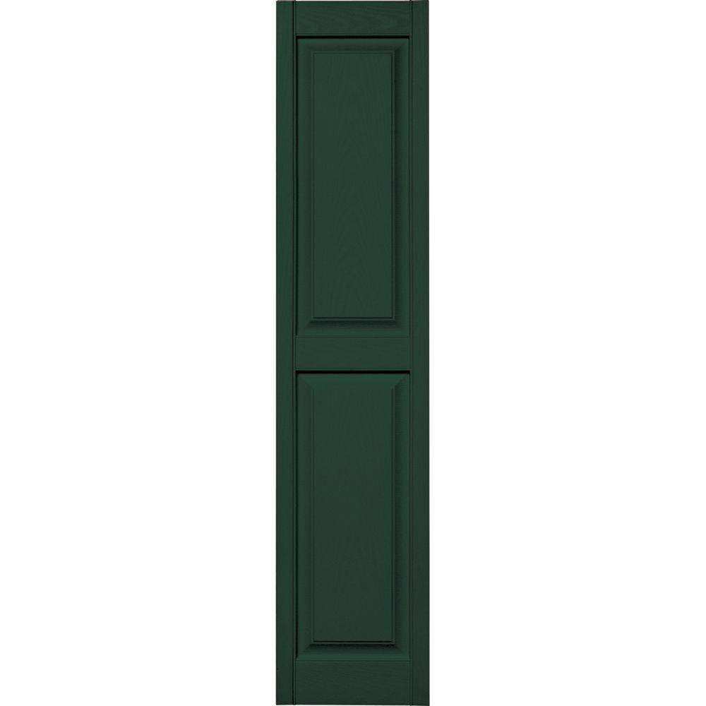 Builders Edge 15 in. x 67 in. Raised Panel Vinyl Exterior Shutters Pair in #122 Midnight Green
