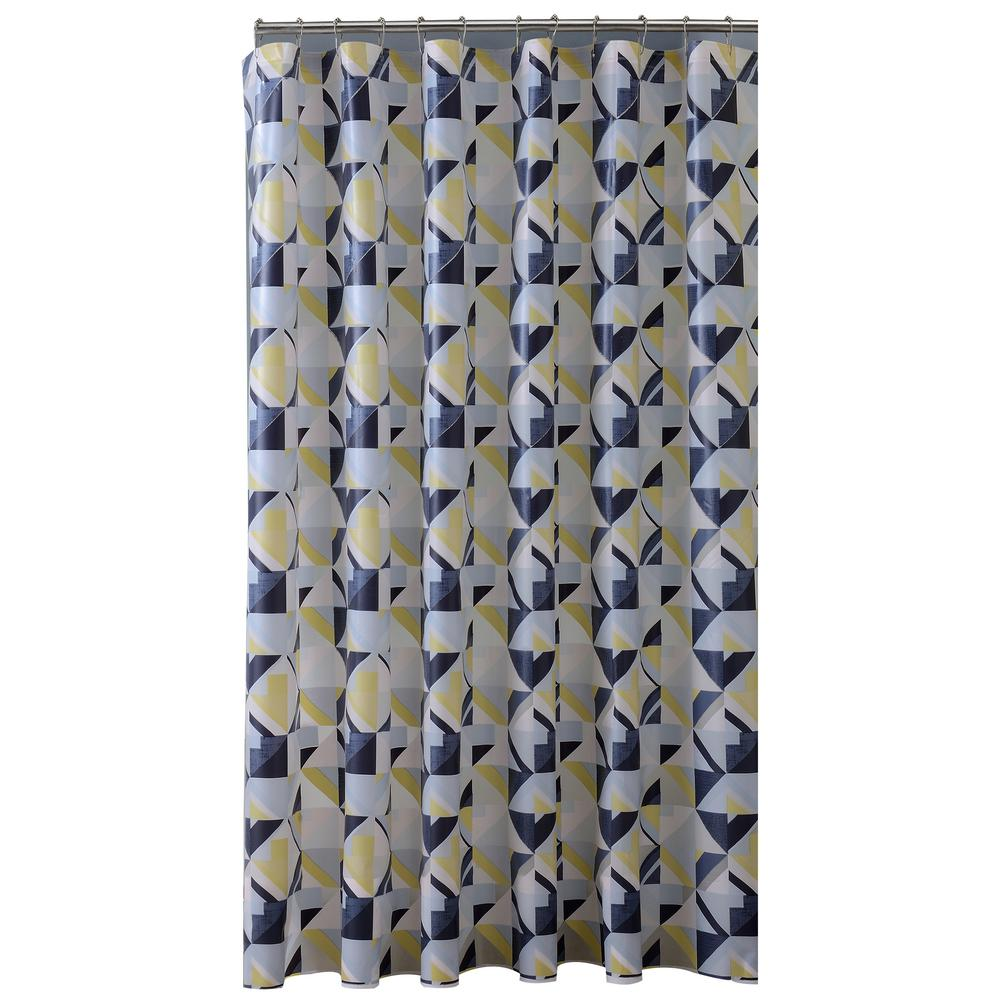 Bath Bliss Peva 70 In X 72 Black Grey And Yellow Geo Design Shower Curtain