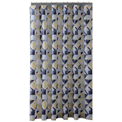 PEVA 70 in. x 72 in. Black, Grey, and Yellow Geo Design Shower Curtain