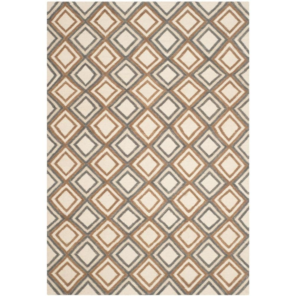Dhurries Ivory/Blue 5 ft. x 8 ft. Area Rug