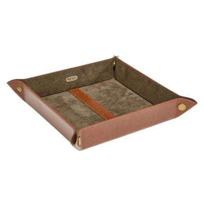 Travis Cognac Faux Leather Jewelry Tray