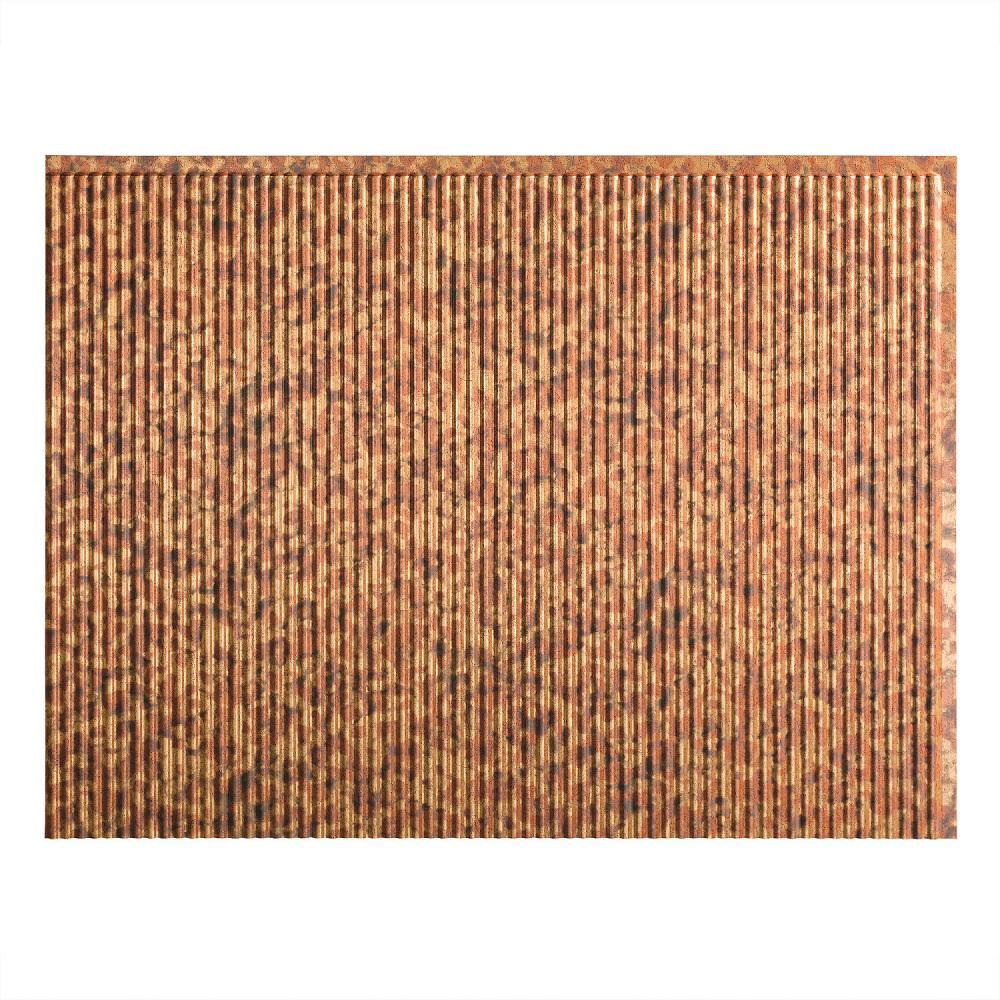 24 in. x 18 in. Rib PVC Decorative Backsplash Panel in Cracked Copper