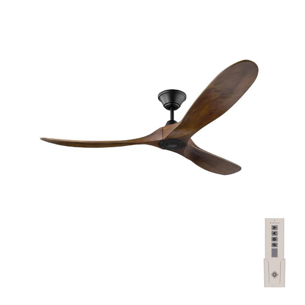 Maverick 60 in. Indoor/Outdoor Matte Black Ceiling Fan with Dark Walnut Balsa Blades, DC Motor and Remote Control