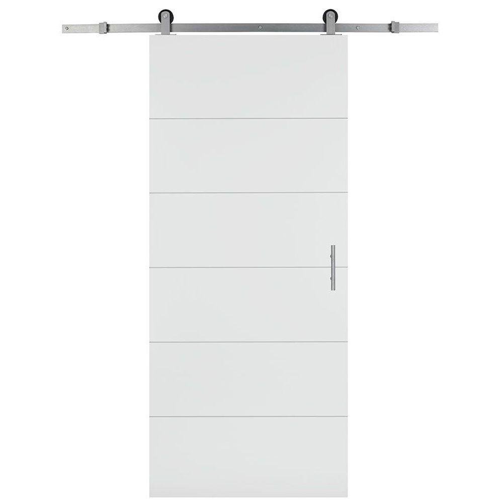 Masonite 36 in. x 84 in. Melrose Solid Core Primed Composite Interior Sliding Barn Door Slab with Hardware Kit