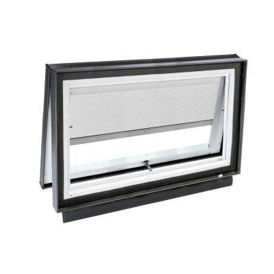 46-1/2 in. x 22-1/2 in. Solar Powered Venting Curb-Mount Skylight w/ Laminated Low-E3 Glass, White Room Darkening Blind