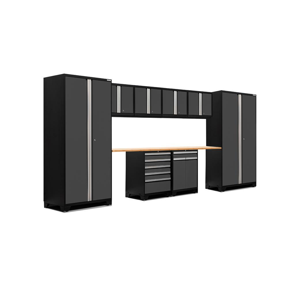Pro 3 Series 85 in. H x 184 in. W x 24 in. D 18-Gauge Welded Steel Bamboo Worktop Cabinet Set in Gray (10-Piece)