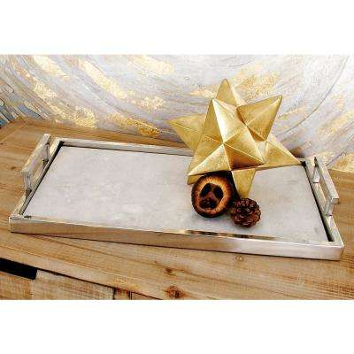 Modern Metallic Aluminum and Marble Tray