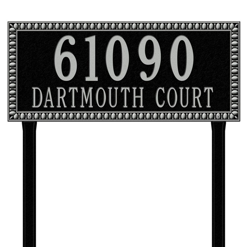 Egg and Dart Rectangular Black/Silver Estate Lawn Two Line Address Plaque