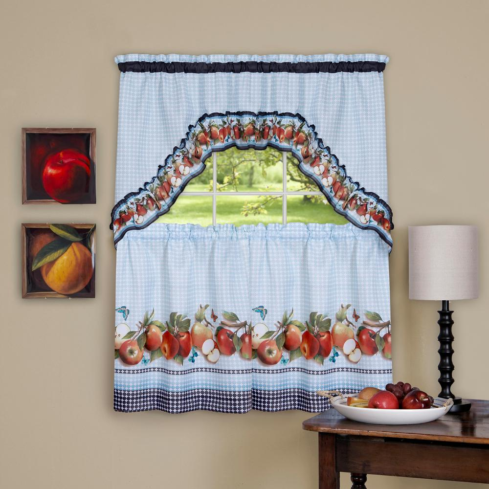 Sheer Golden Delicious Ice Blue Printed Tier and Swag Window Curtain