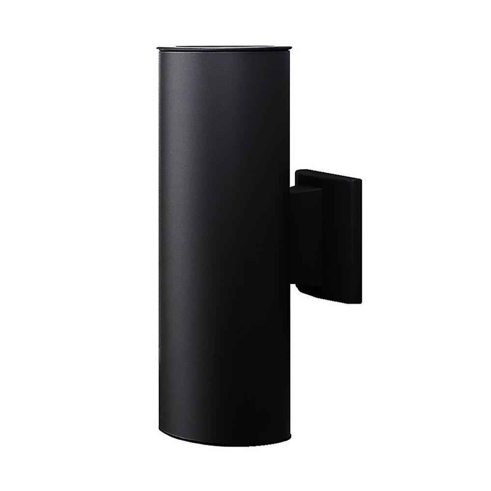 NICOR 150-Watt 2-Light Black Outdoor Wall Lantern Sconce Column Light