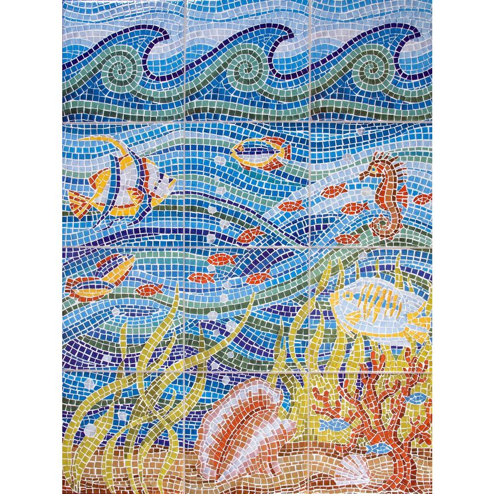 Imagine Tile Under The Sea 24 In. X 32 In. Ceramic Mural Wall Tile Part 72