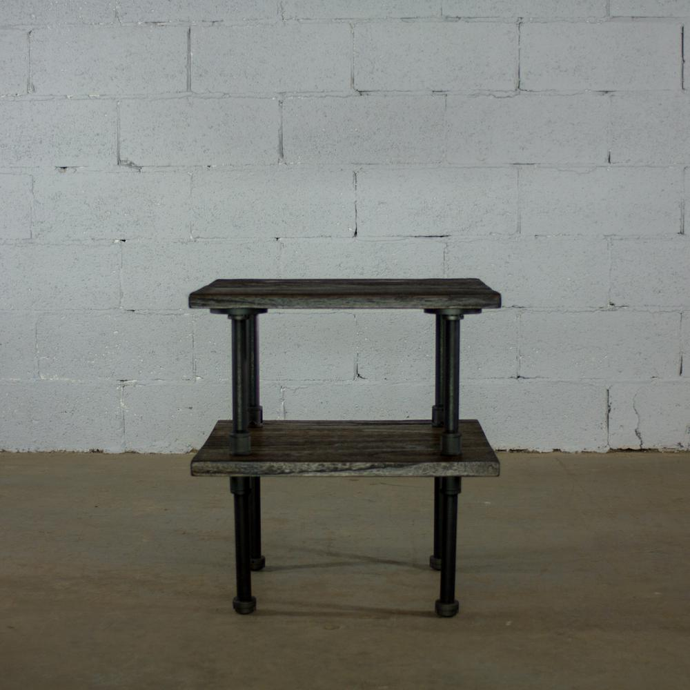 Black Steel Industrial Pipe 2-Tier End or Side Table with Reclaimed-Aged
