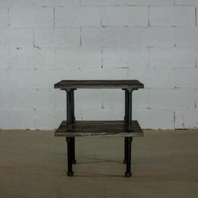 Black Steel Industrial Pipe 2-Tier End or Side Table with Reclaimed-Aged Wood