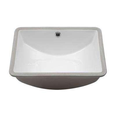 18.25 in. Undermount Vessel Sink Modern in Pure White Rectangle Porcelain Ceramic Lavatory Vanity Bathroom Sink