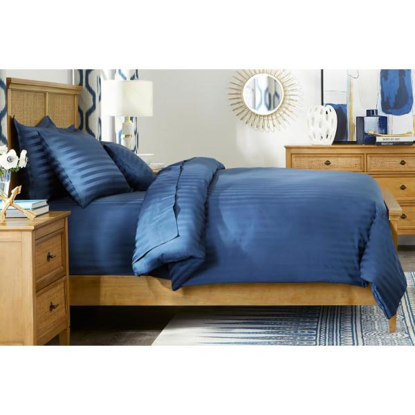 500 Thread Count Egyptian Cotton Sateen 3-Piece Full/Queen Duvet Cover Set in Midnight Damask