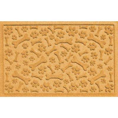 Aqua Shield Paws and Bones Yellow 17.5 in. x 26.5 in. Pet Mat