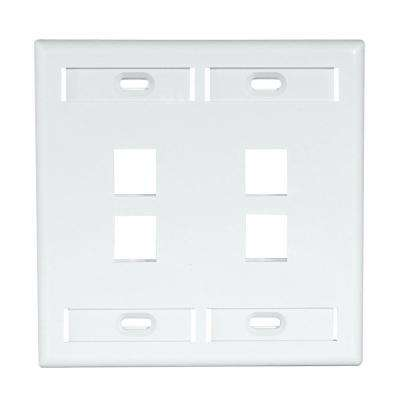 2-Gang QuickPort Standard Size 4-Port Wallplate with ID Windows, White