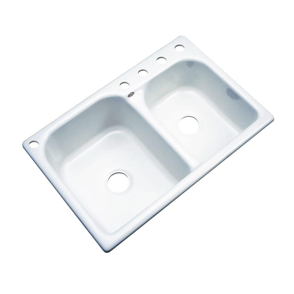 Cambridge Drop-In Acrylic 33 in. 5-Hole Double Bowl Kitchen Sink in