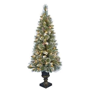 4.5 ft. Pre-Lit LED Sparkling Amelia Pine Potted Artificial Christmas Tree, 163 Tips and 100 Warm White Lights
