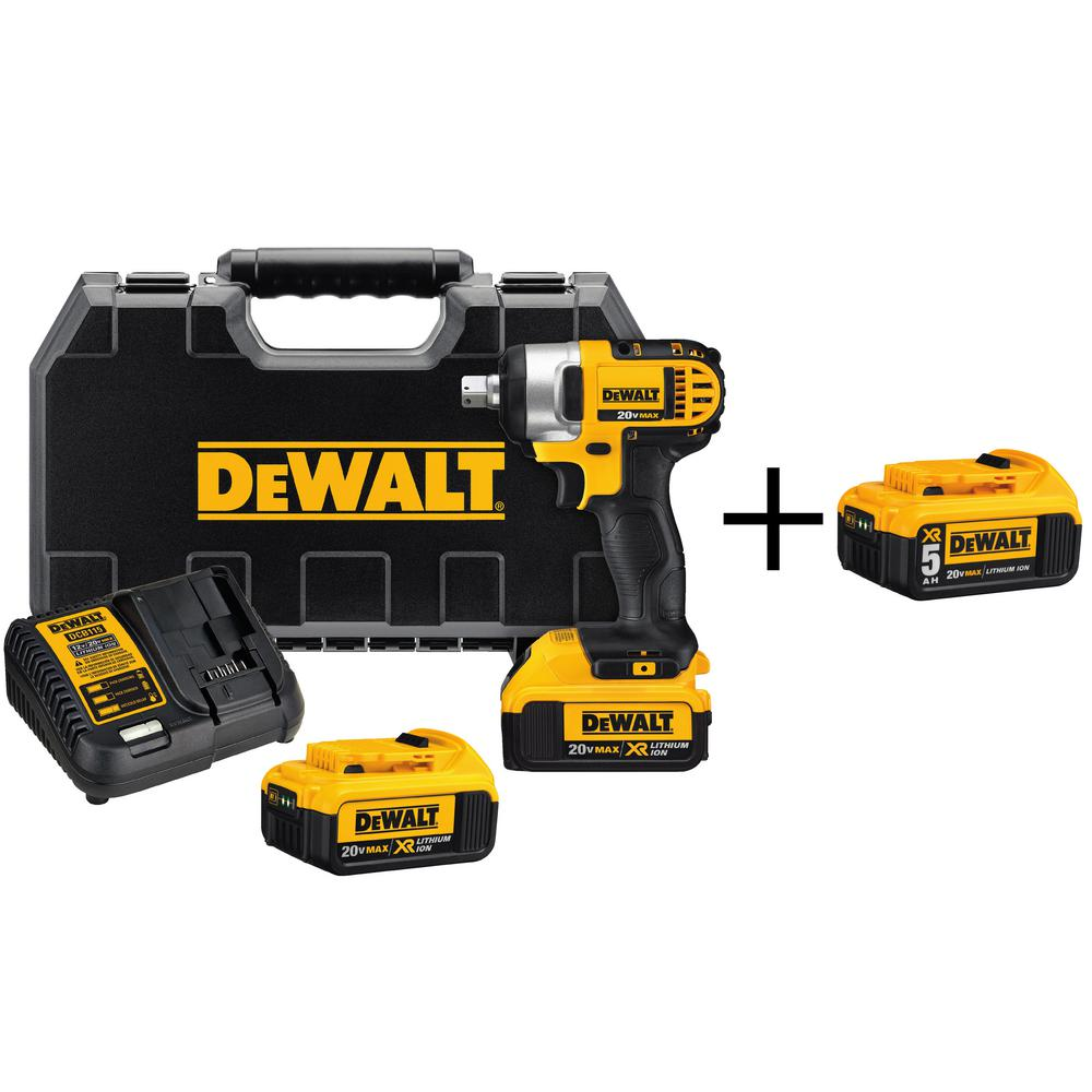 DEWALT 20-Volt MAX XR Lithium-Ion 1/2 in. Cordless Impact Wrench Kit with Free 20-Volt 5.0Ah Battery