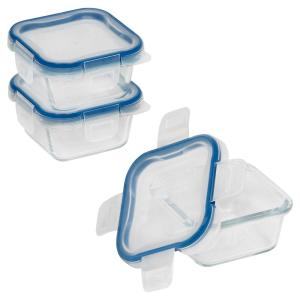 Total Solutions 1-Cup Glass Square Storage Container (3-Pack)