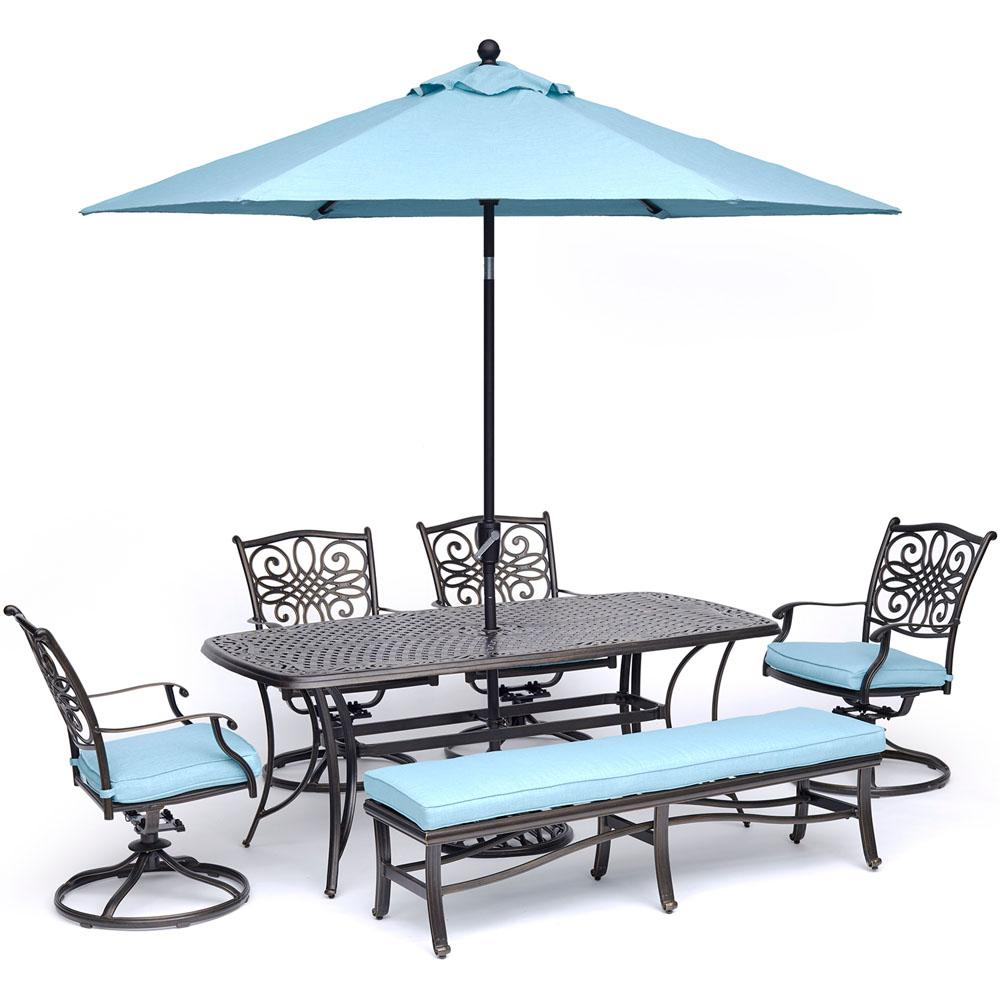 Hanover traditions 6 piece aluminum outdoor dining set with 4 swivel rockers with blue cushions