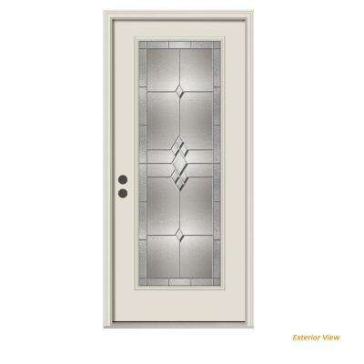 36 in. x 80 in. Full Lite Kingston Primed Steel Prehung Right-Hand Inswing Front Door w/Brickmould