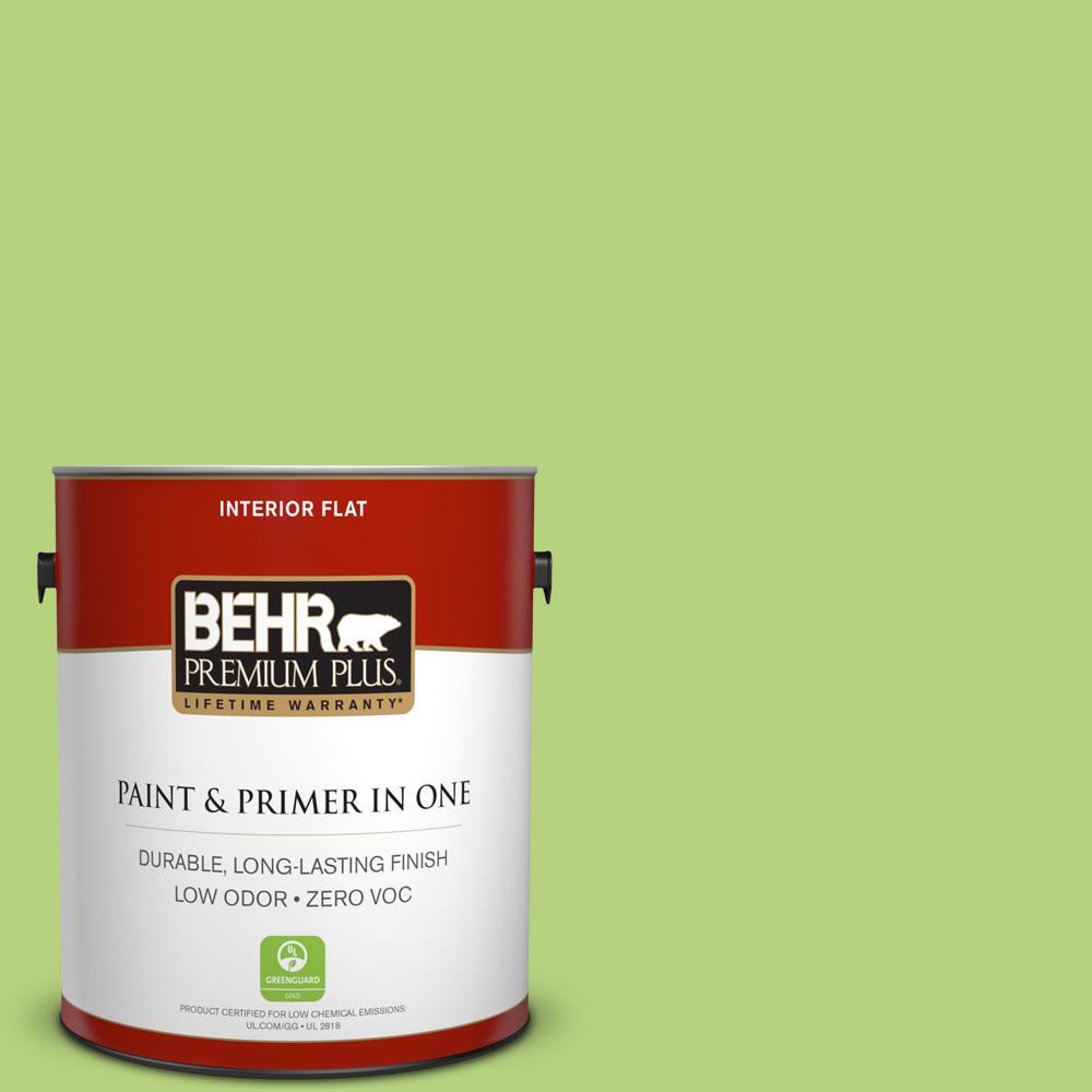 BEHR Premium Plus 1-gal. #420B-4 Tart Apple Zero VOC Flat Interior Paint