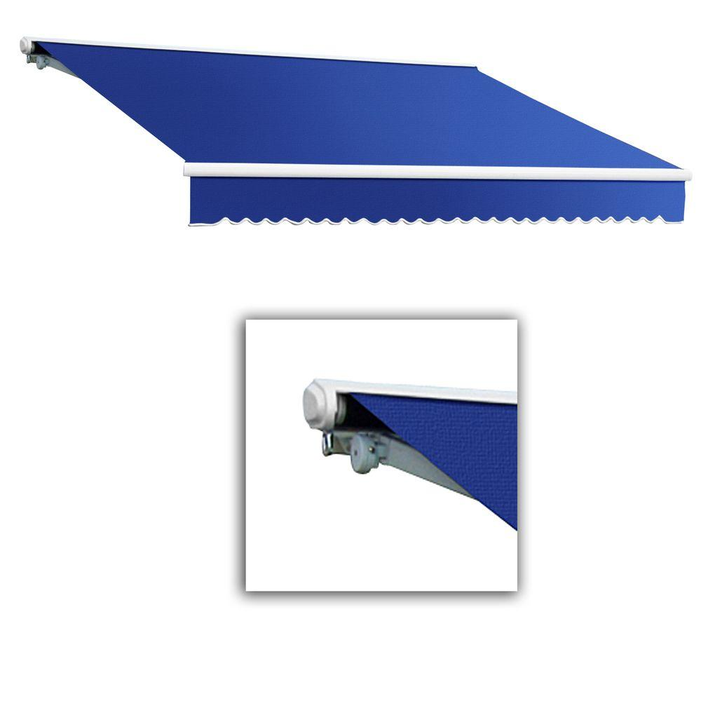 AWNTECH 24 ft. Galveston Semi-Cassette Left Motor with Remote Retractable Awning (120 in. Projection) in Blue