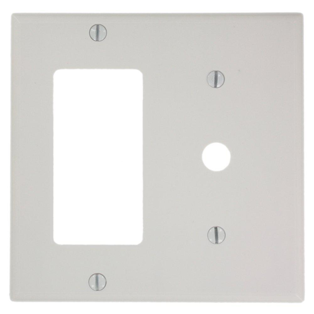 Leviton 2-Gang Standard Size 1 0.406 in. Dia Phone/Cable Opening 1 ...