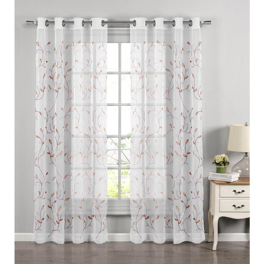 Window Elements Sheer Wavy Leaves Embroidered Sheer Coral