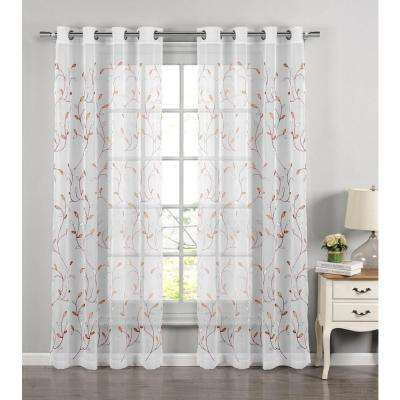 Sheer Wavy Leaves Embroidered Coral Grommet Extra Wide Curtain Panel 54 In W