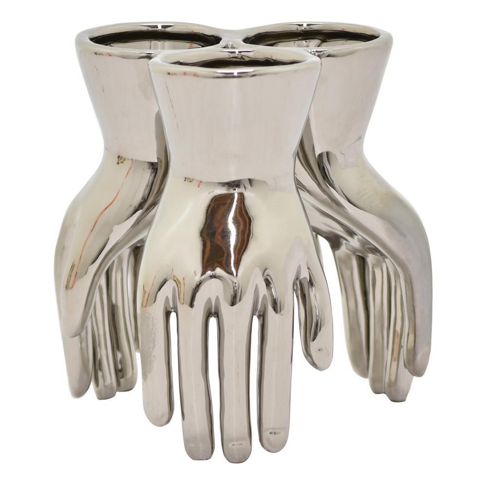 7 in. Silver Ceramic Hand Vase