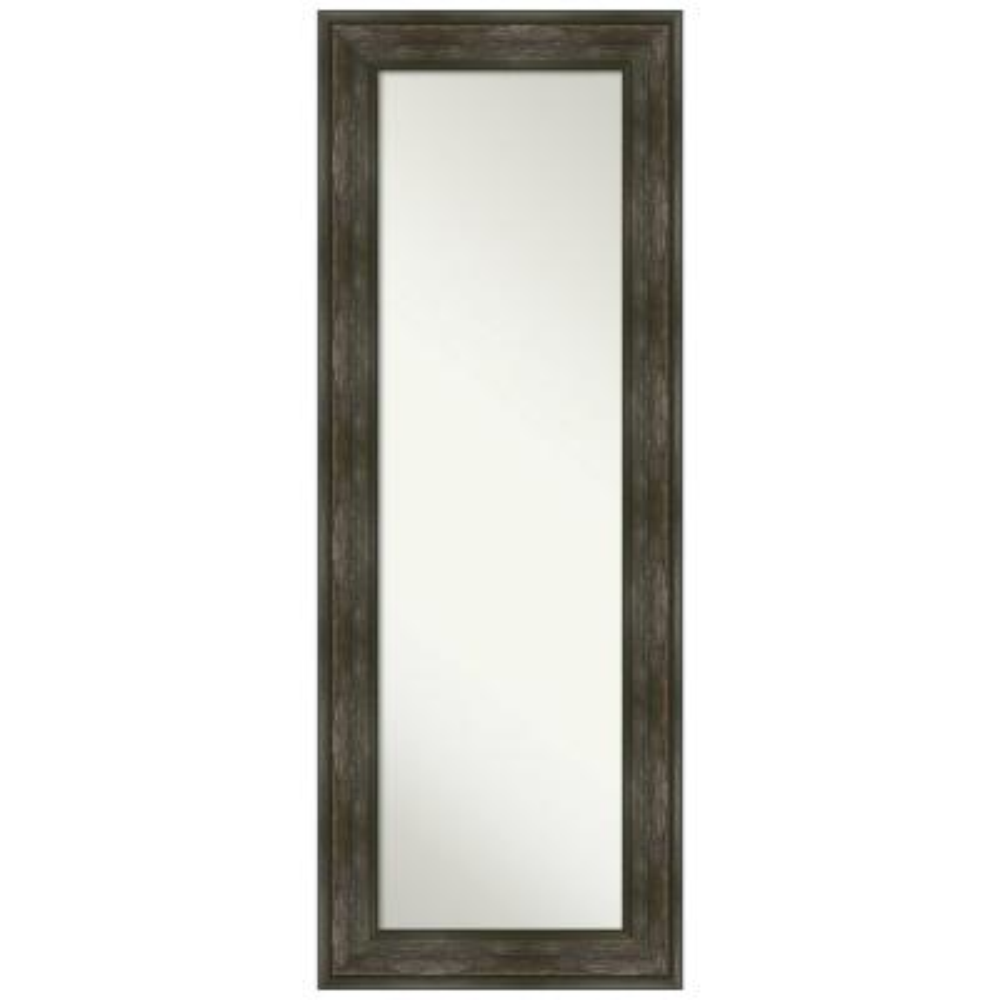 Large Rectangle Distressed Black Brown/Tan Silver Metallic Hooks Casual Mirror (54.25 in. H x 20.25 in. W)