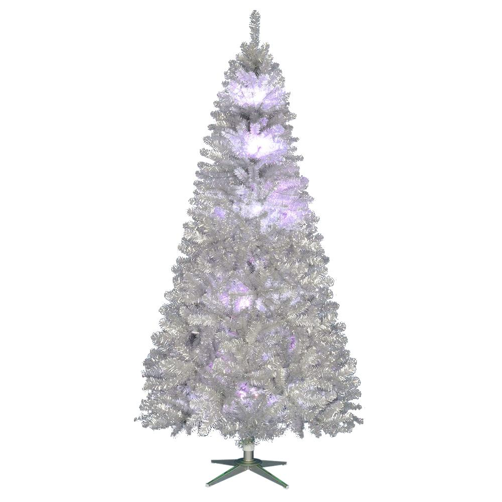 Vintage Artificial Christmas Trees.Home Accents Holiday 7 5 Ft Pre Lit Led Nostalgia Vintage Aluminum Artificial Christmas Tree With 10 Rgb Color Changing Lights