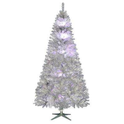 7.5 ft. Pre-Lit LED Nostalgia Vintage Aluminum Artificial Christmas Tree with 10 RGB Color-Changing Lights