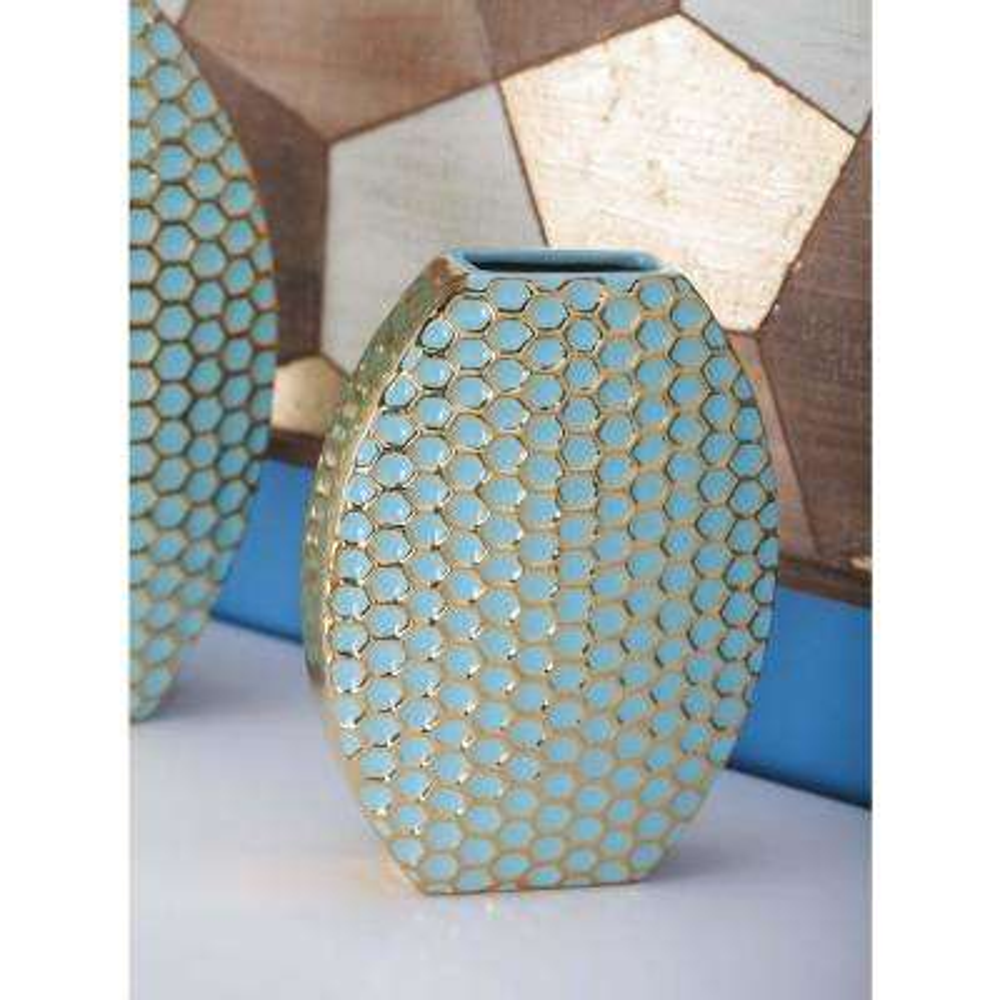 12 in. Semi-Elliptical Blue and Gold Ceramic Decorative Vase