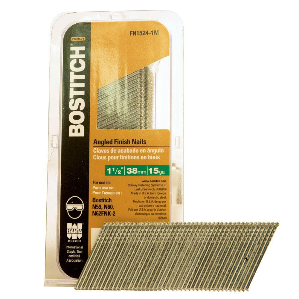 1000-Qty. BOSTITCH FN1520-1M 1-1//4-Inch 15-Gauge FN Style Angled Finish Nails