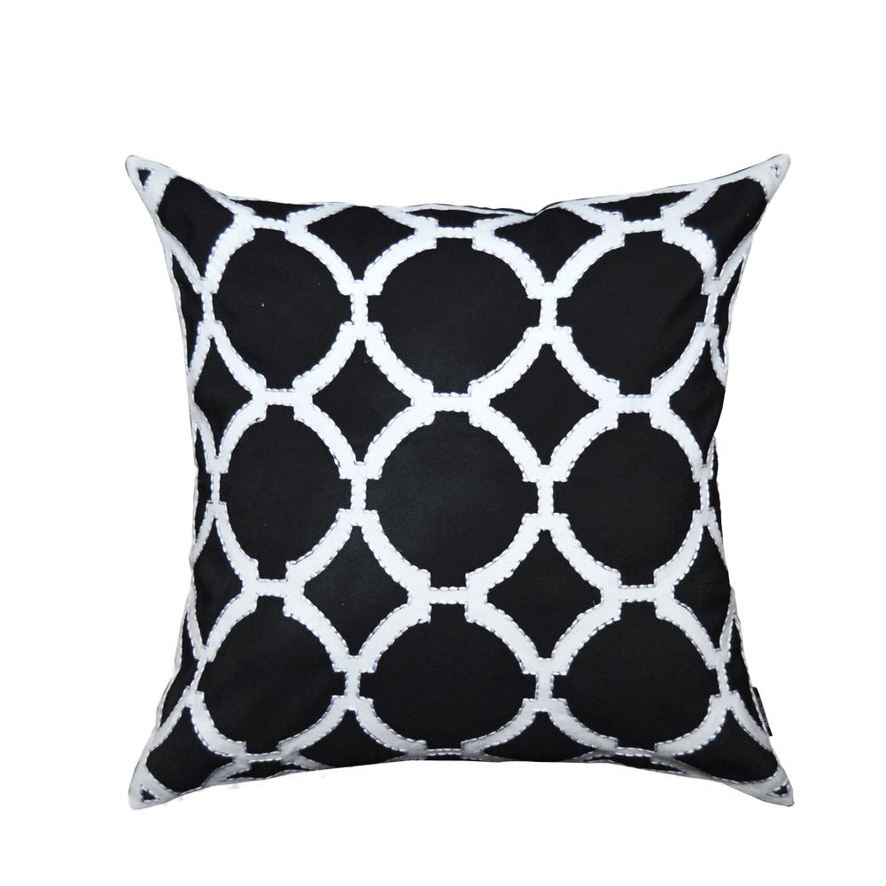 Fancy Throw Pillow Patterns : A1HC Black and White Geometric Pattern Decorative Pillow-A1BW017 - The Home Depot