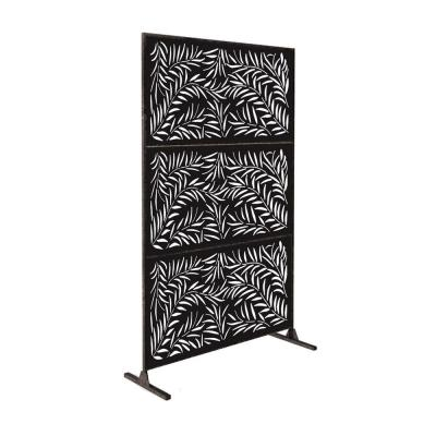 New Style MetalArt Laser Cut Metal Black WeepingWillow Privacy Fence Screen (24 in. x 48 in. per Piece 3-Piece Combo)