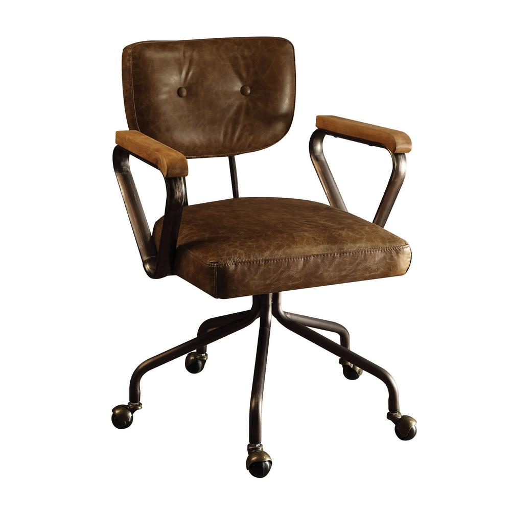 Acme Furniture Hallie Vintage Whiskey Top Grain Leather Office Chair
